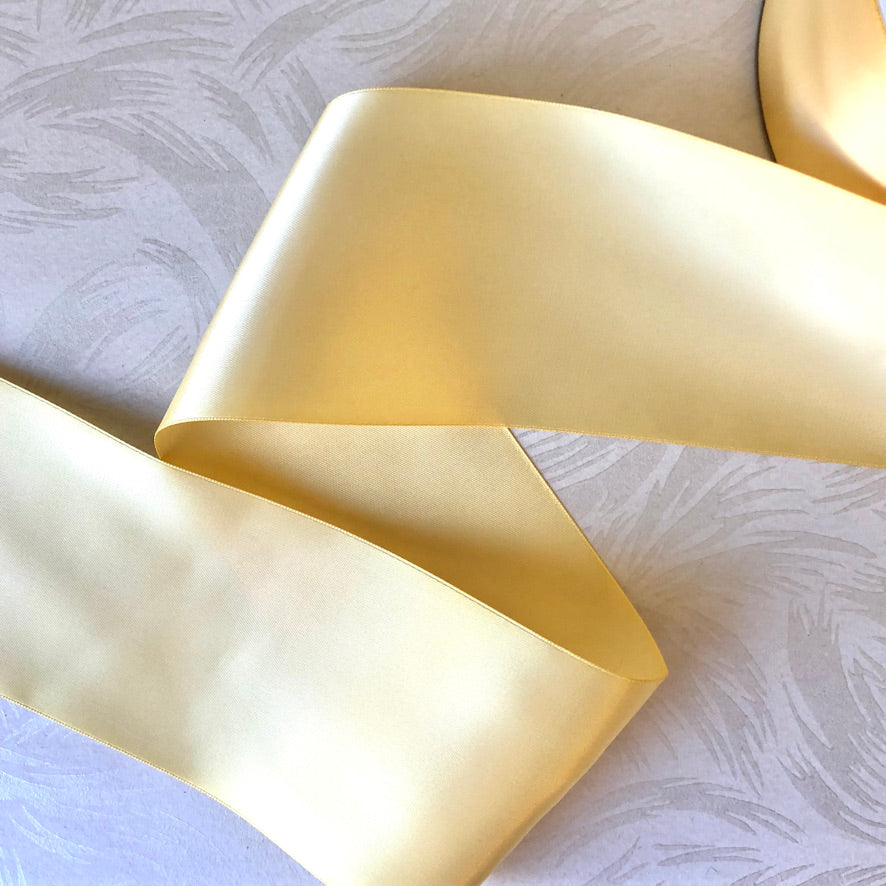 Wide Single-Sided Yellow Satin Ribbon