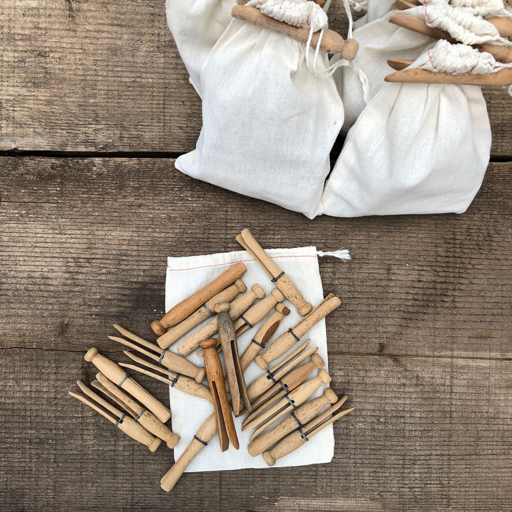 Sack of Vintage Clothes Pins