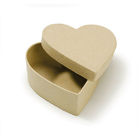 Plain Kraft Paper Maché Heart Box With Lid