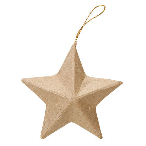 Kraft Paper Maché Small Stars - Hanging