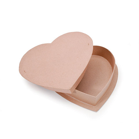 Kraft Paper Maché Heart Candy Box