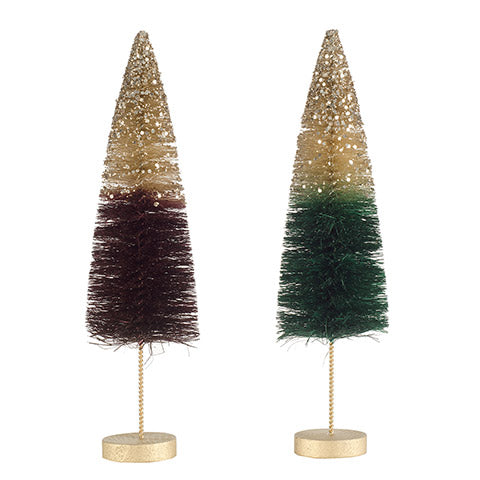 Gold Glitter Dipped Bottle Brush Trees