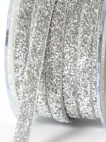 "Silver metallic 3/8"" ribbon"