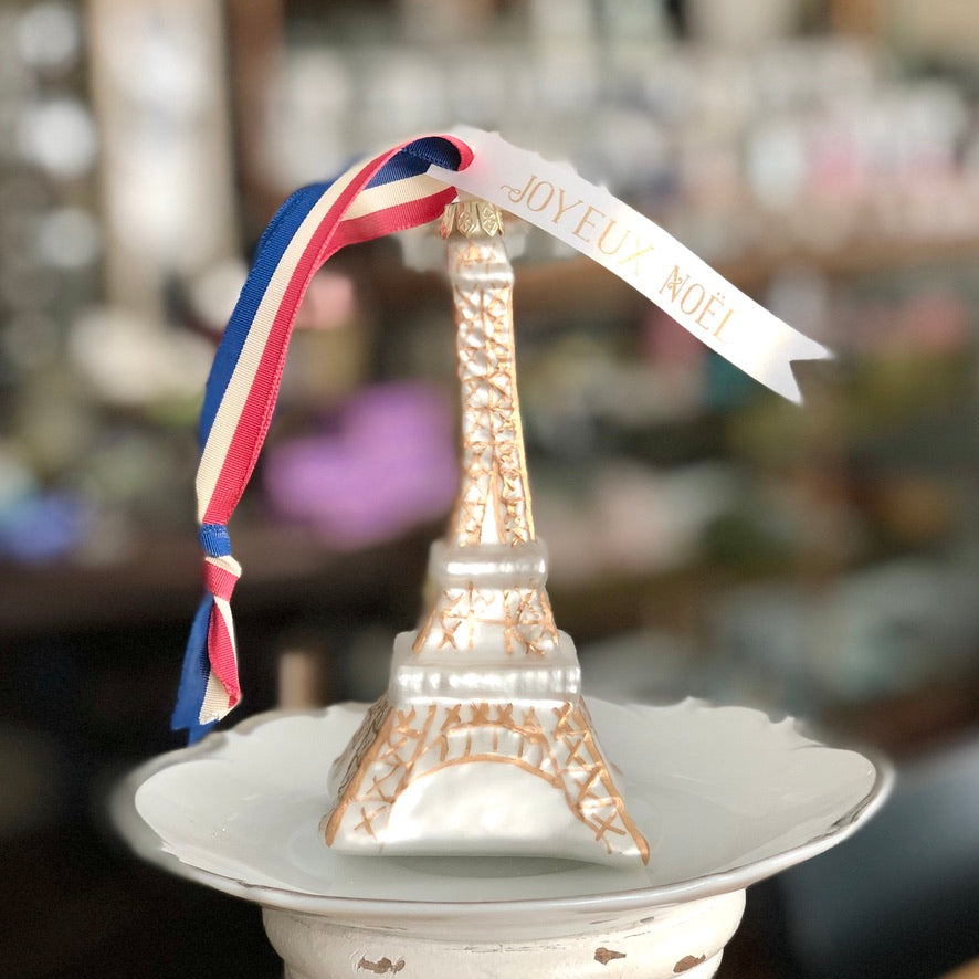 Joyeux Noel Eiffel Tower Glass Ornament
