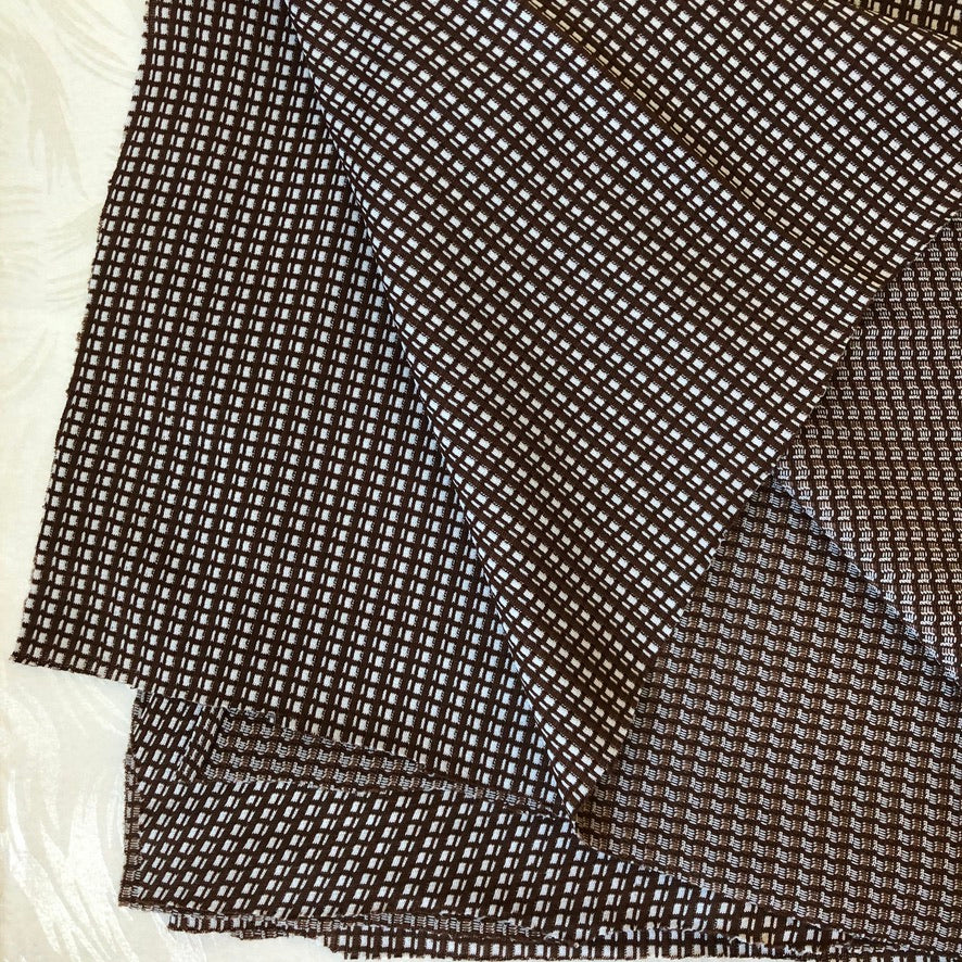 Vintage Double-Knit Brown Check Fabric