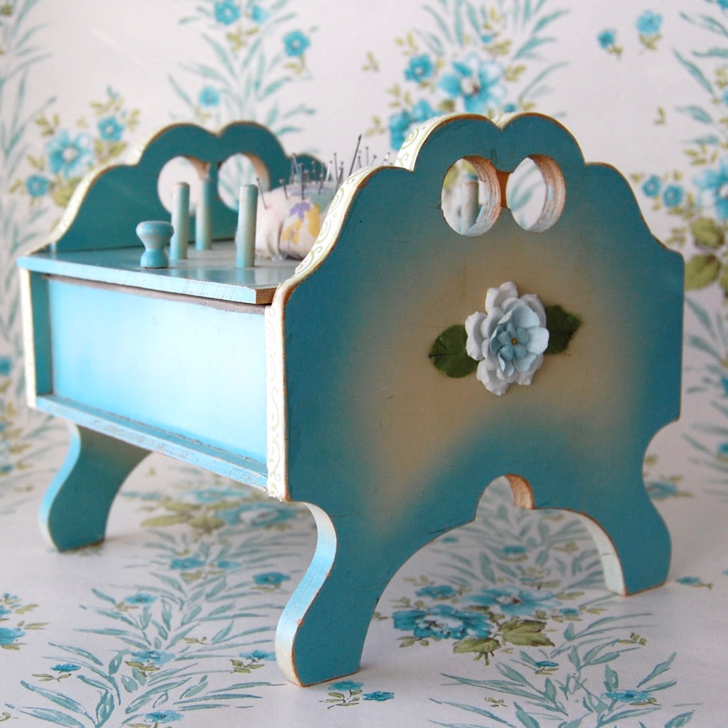 Vintage Aqua Sewing Box