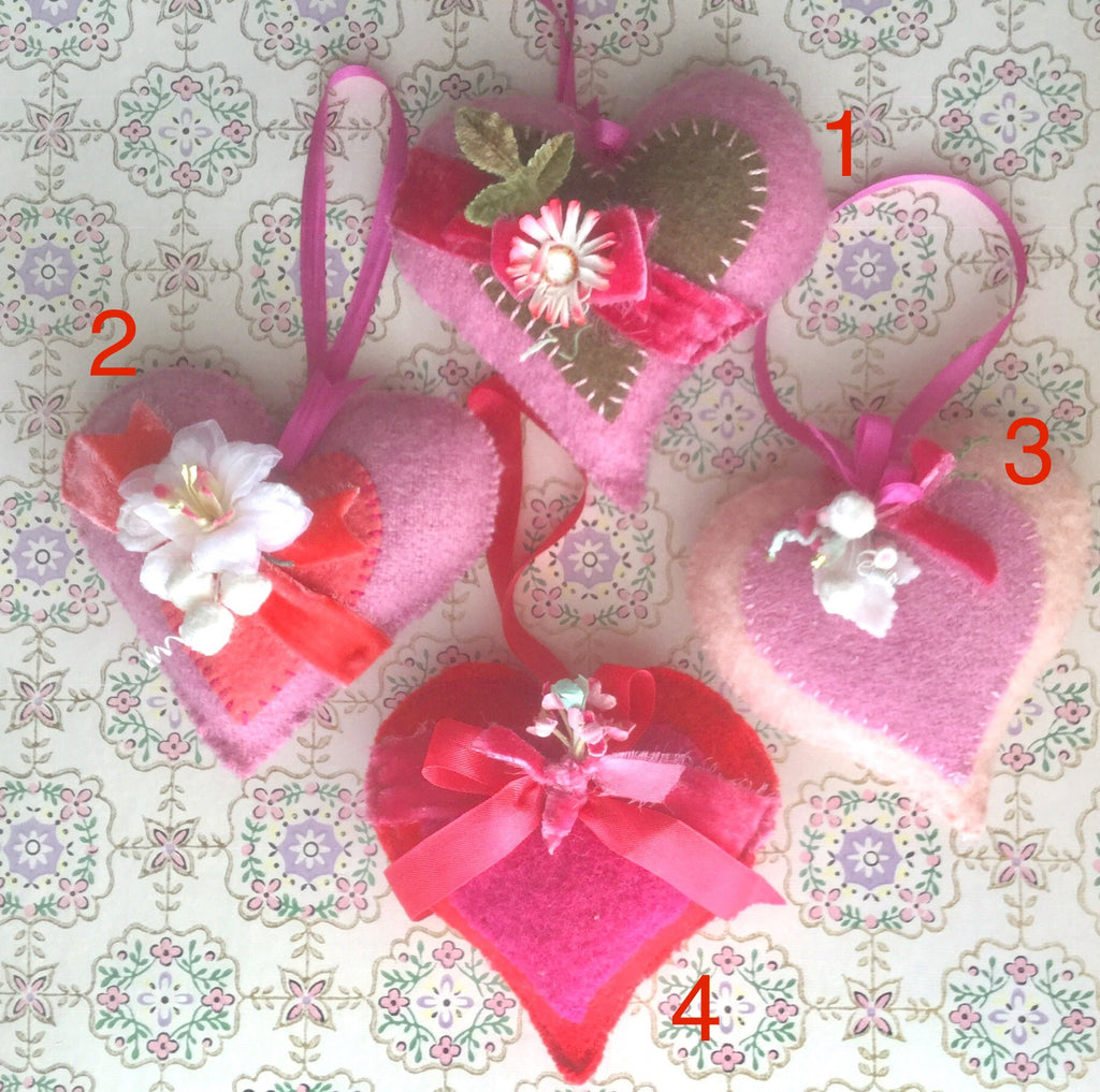 Wool Heart Sachets