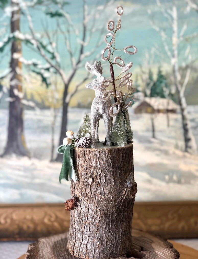 Tall Green Winter Woodland Scene