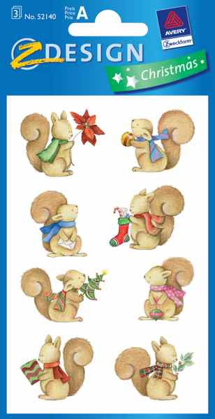 Christmas Squirrels Stickers