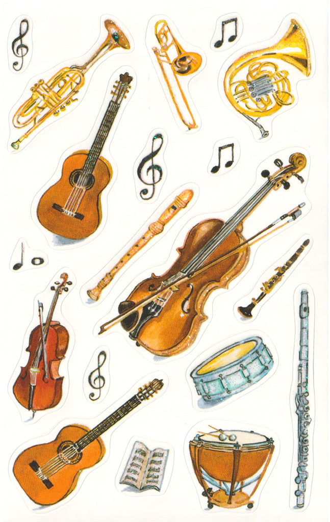 Glittered Musical Instruments - Stickers