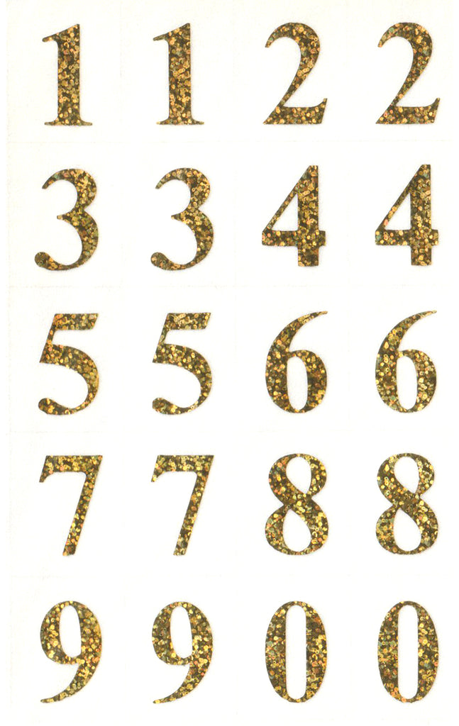 Gold Hologram Numbers - Stickers