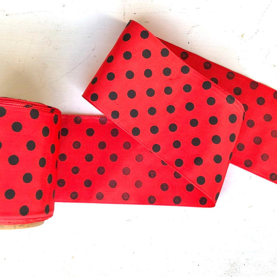 Vintage Red Taffeta Ribbon with Black Dots