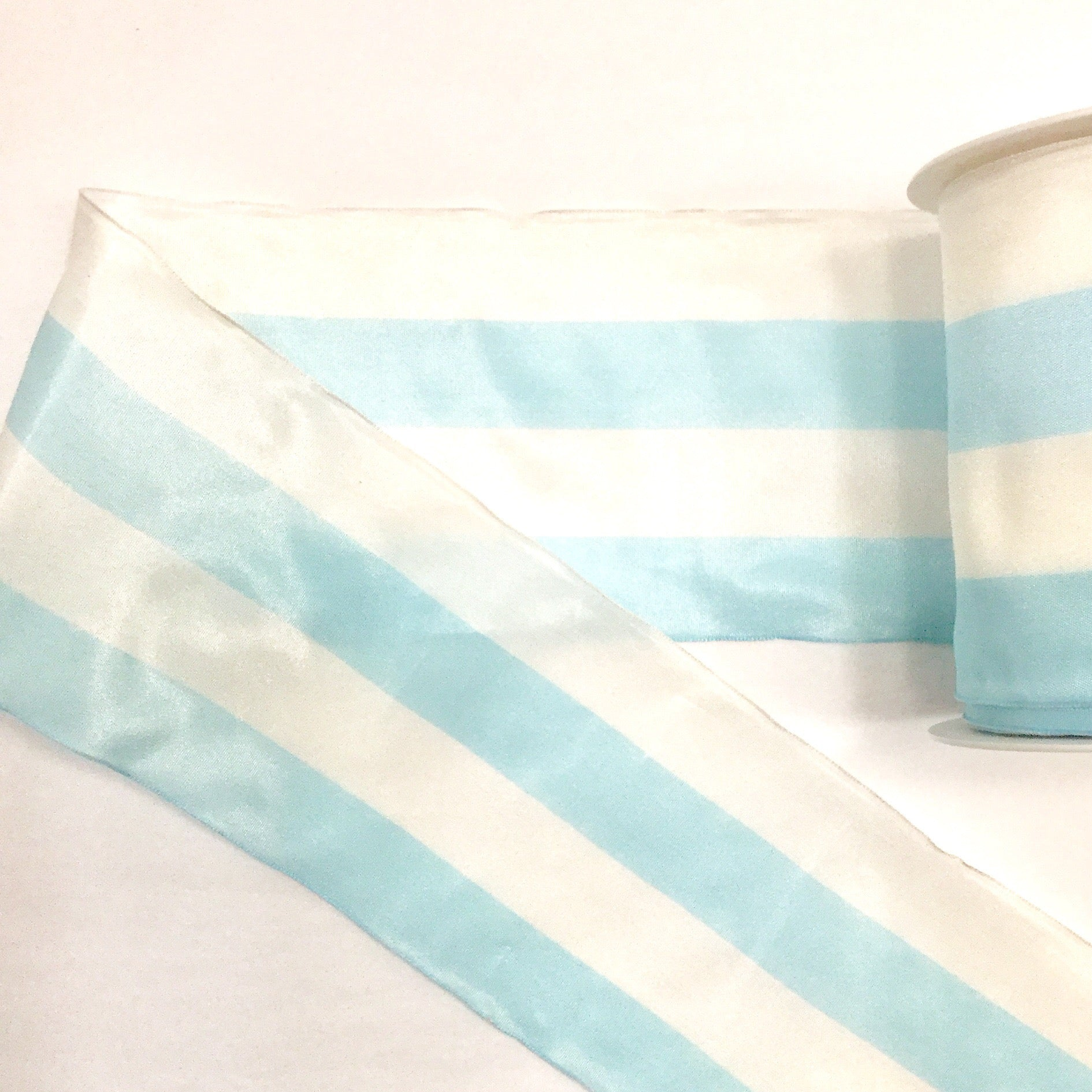 Wide Two-Tone Stripe Wired Taffeta Ribbon