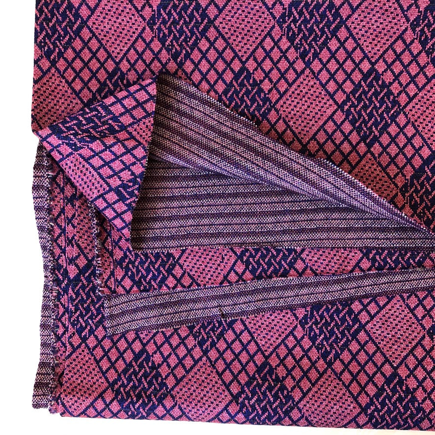 Vintage Double-Knit Geometric Fabric