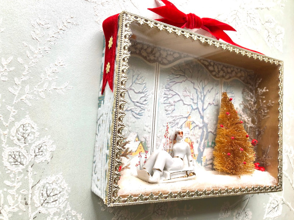 Retro Sledder Winter Diorama Scene