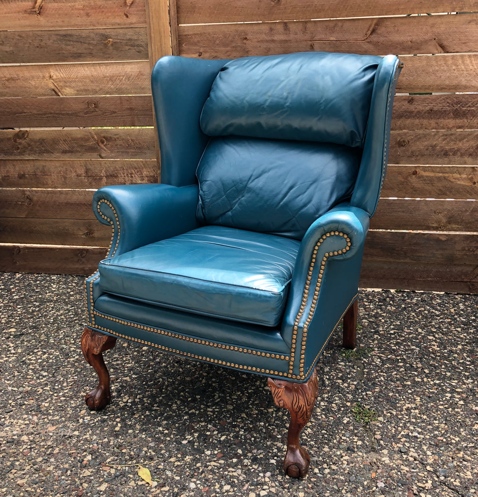 Teal Leather Wingback Chair - Vintage