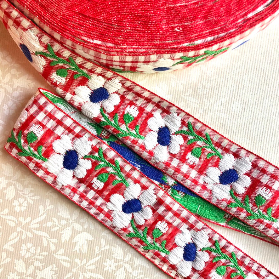 Embroidered Gingham Floral Jacquard Cotton Ribbon - Vintage