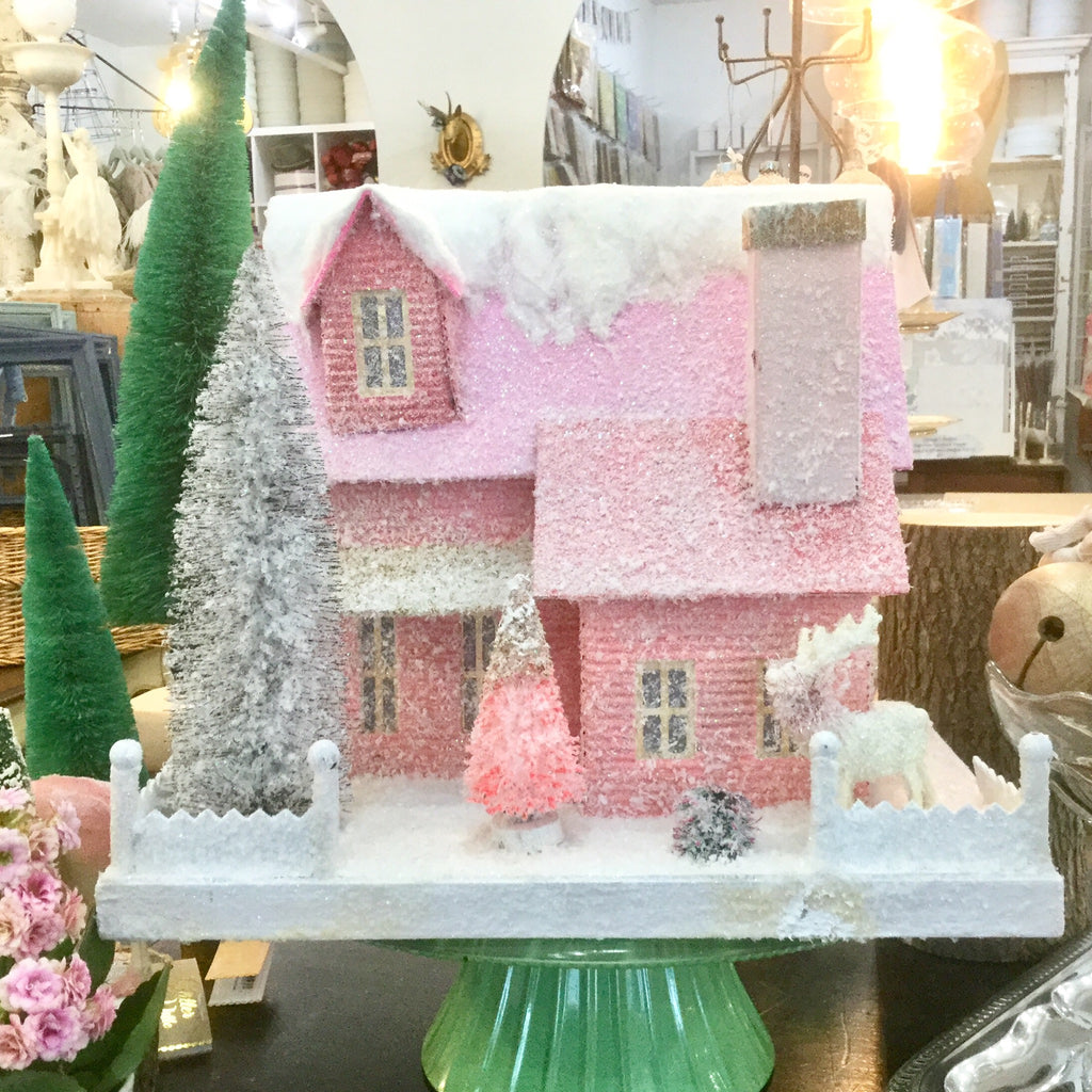 Large Pink Mountain Christmas House