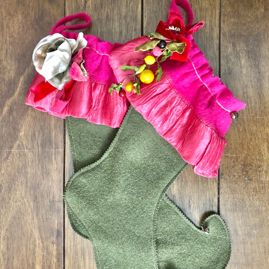 Fuchsia Vintage Wool Christmas Stockings