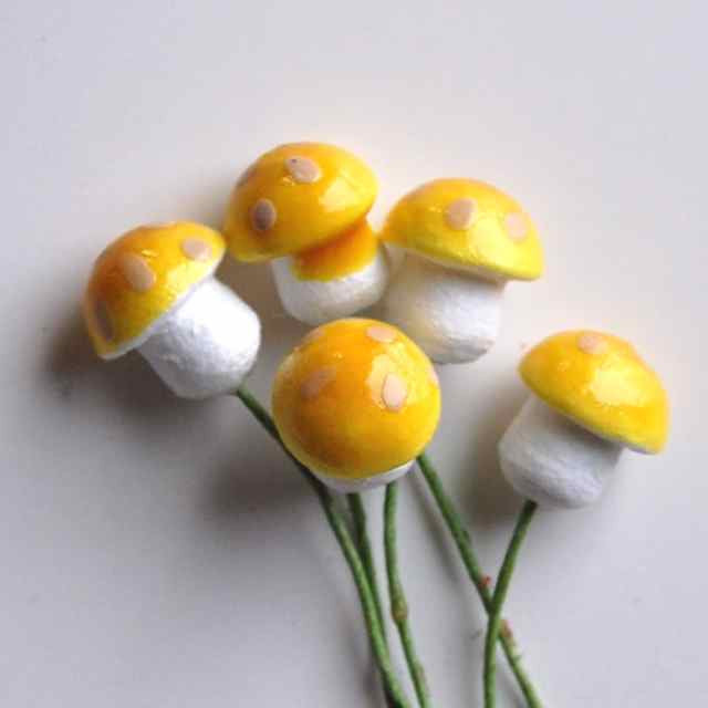 Spun Cotton Mushrooms