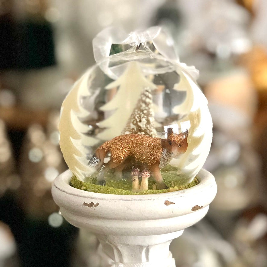 Glass Globe Ornament, Forest Fox