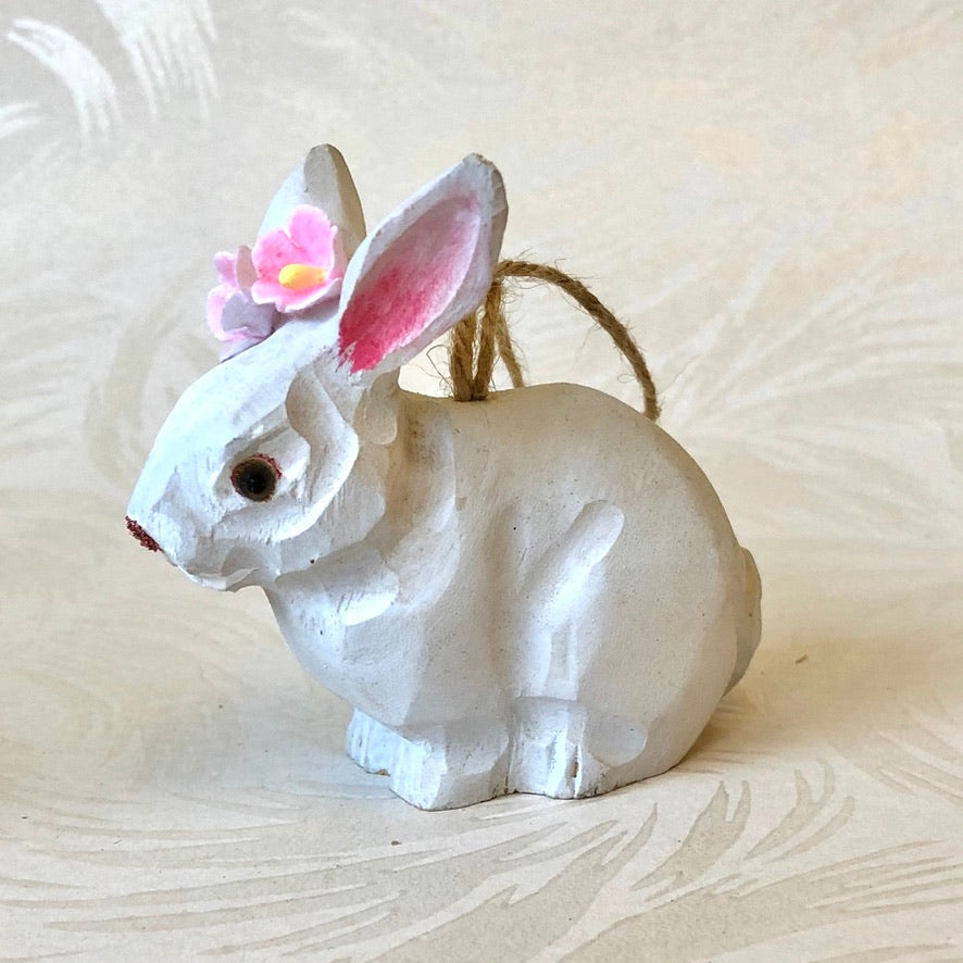 Carved Wood Bunny Rabit Ornament