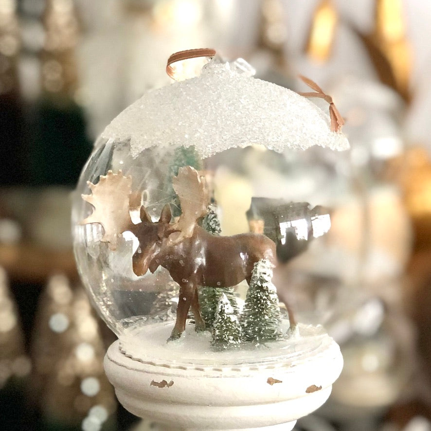 Glass Globe Ornament, Large Snowy Moose
