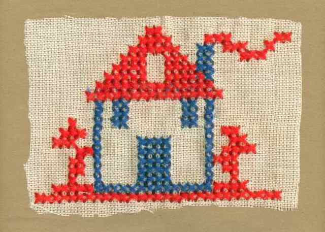 Red_Navy_Vintage_Applique_Cross_Stitch_House