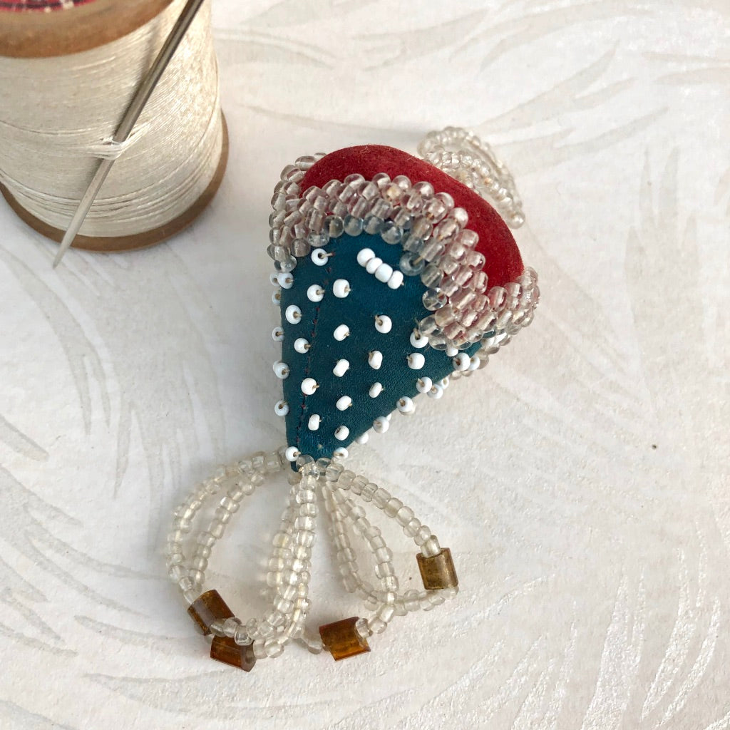 Antique Beaded Strawberry Pincushion