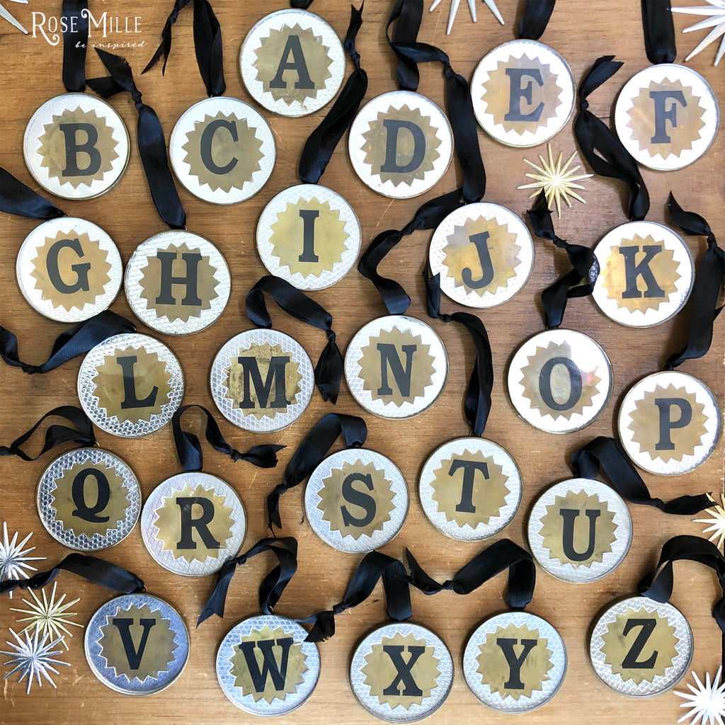 Rustic Brass & Glass Alphabet Ornaments