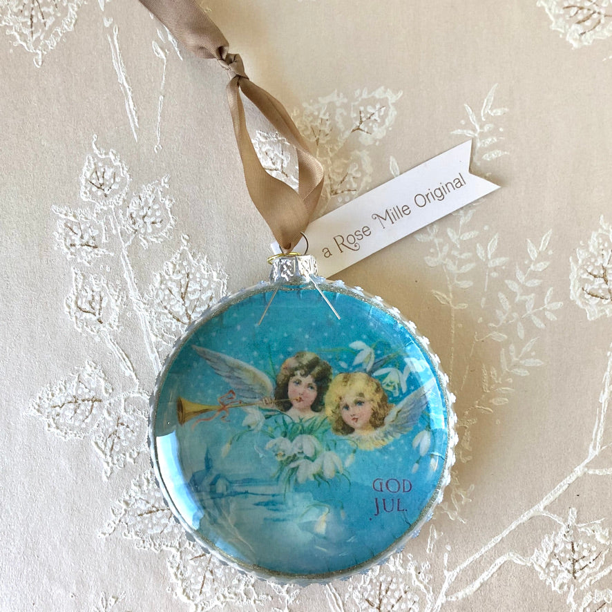 Vintage Scene Glass Ornaments
