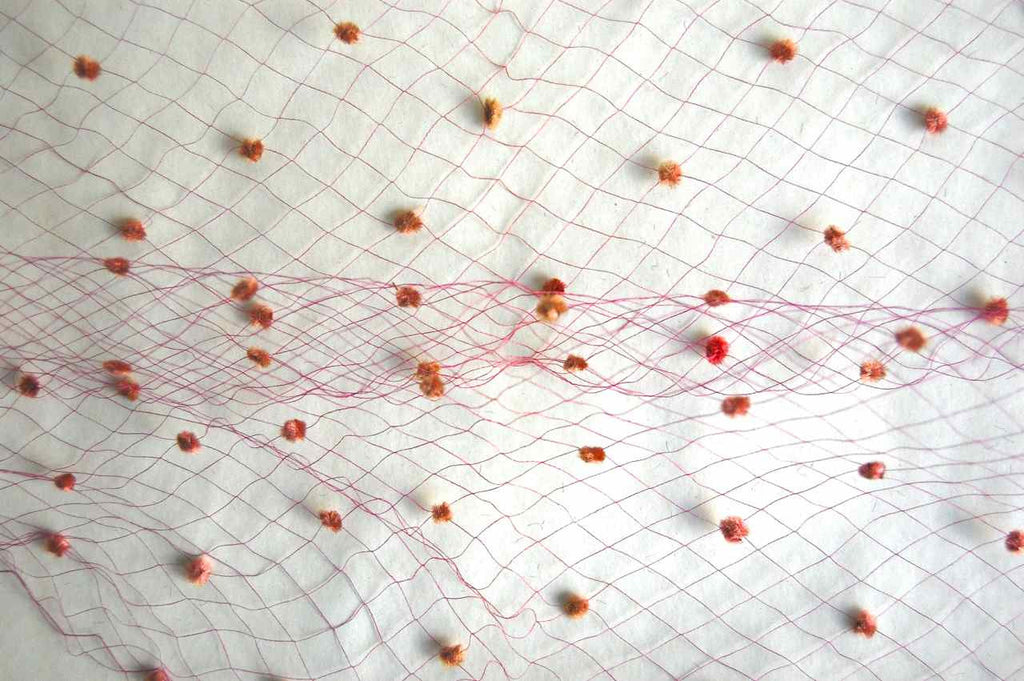 Rose Beige Dots on Raspberry Vintage Silk Netting