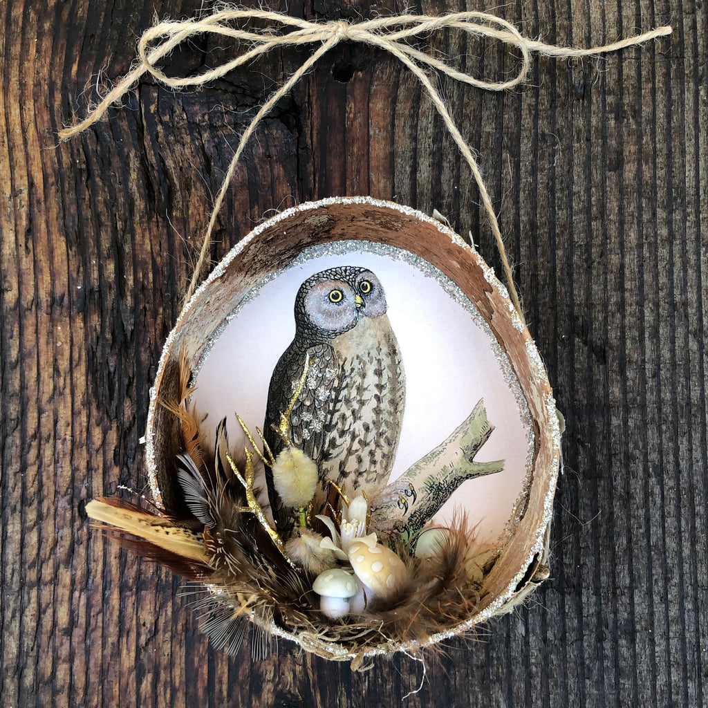 Birch Bark Hollow Ornaments