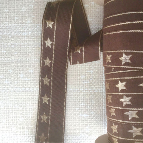 Vintage French Embroidered Grosgrain Ribbon