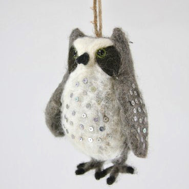 Felted Horned Owl Ormament