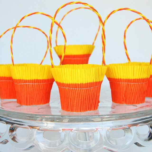 Orange Yellow Crepe Paper Basket