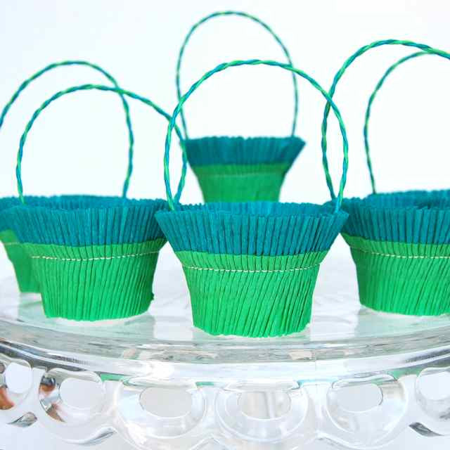 Green Teal  Crepe Paper Basket
