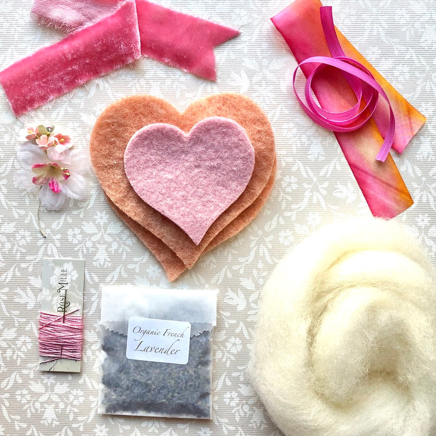 Cozy Wool Heart Sachet Kit