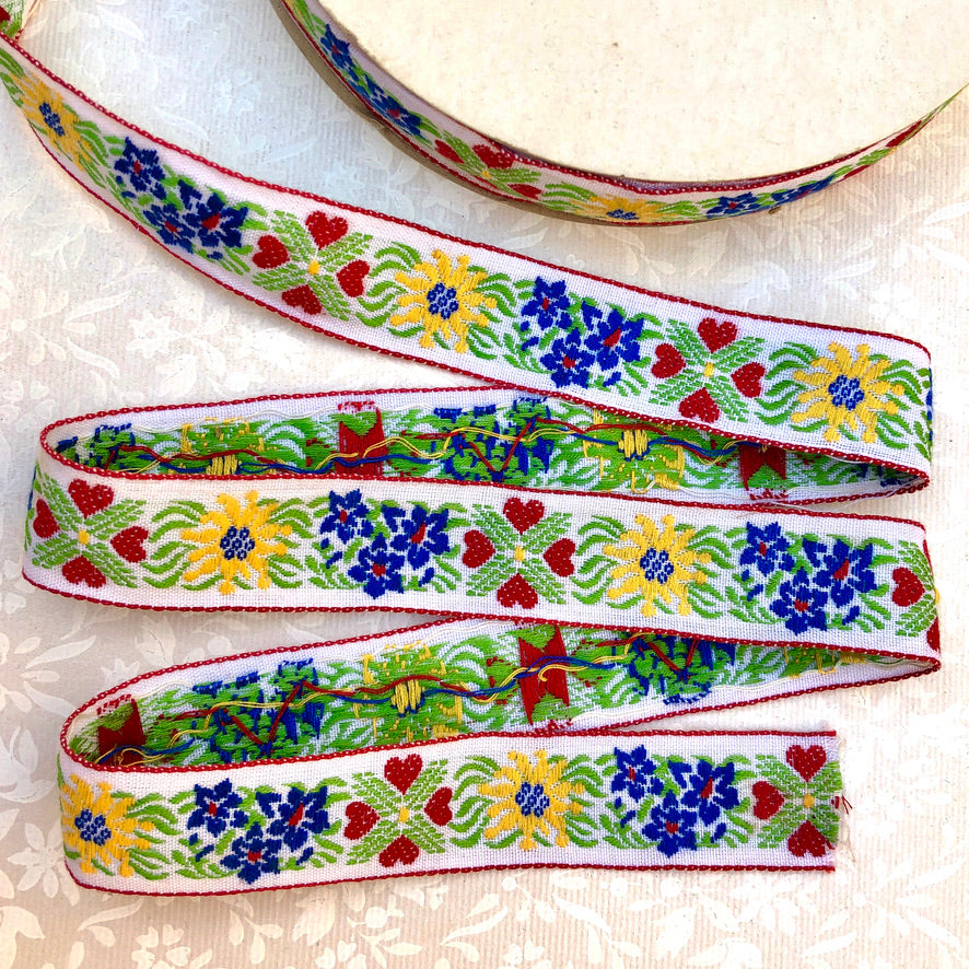 Hearts & Flowers Cotton Jacquard Ribbon - Vintage