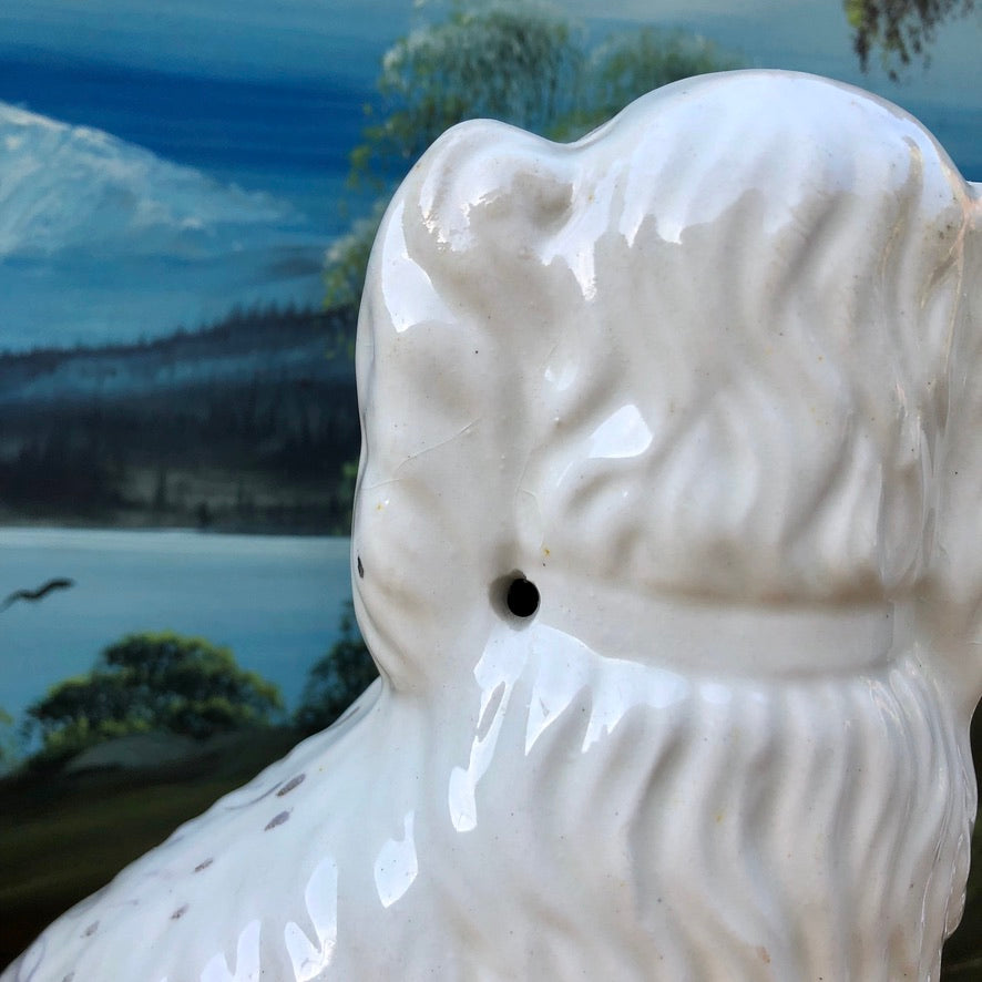 Pair of Antique Staffordshire Spaniel Dogs