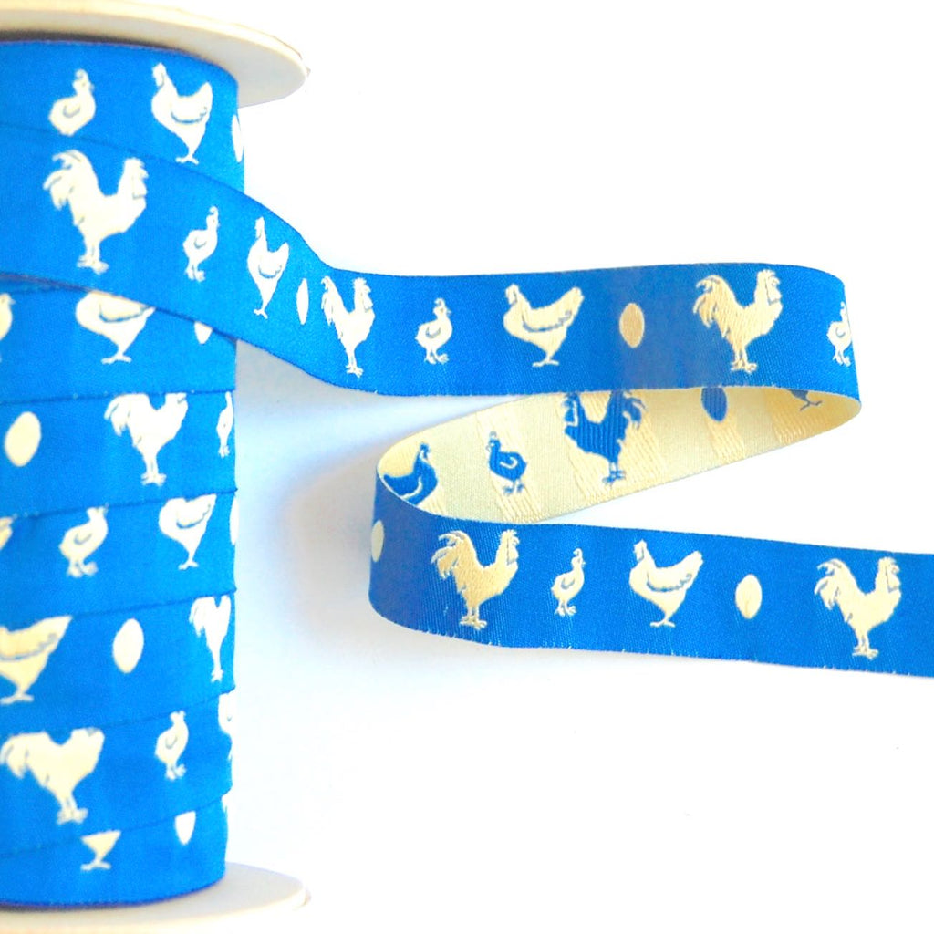 Farm Fresh Chickens & Checks Woven Jacquard Ribbon