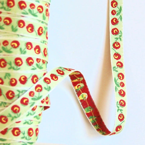 Cherries Woven Jacquard Ribbon