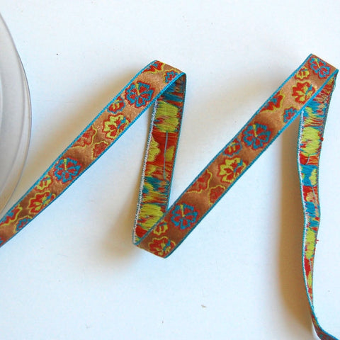 Narrow Flower Power Woven Jacquard Ribbon