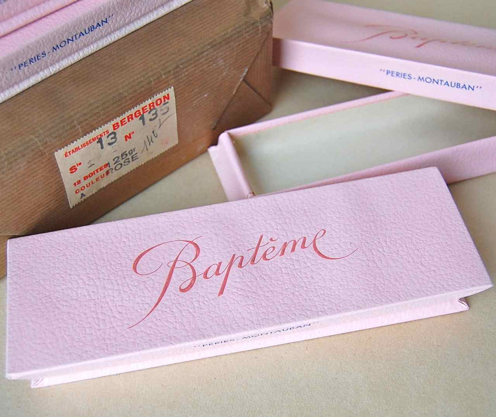 "Pink Embossed ""Baptieme"" Favor or Gift Boxes"