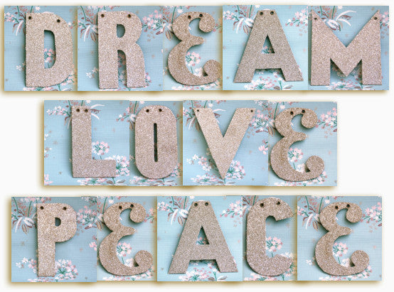 Glass Glitter Letter Garlands