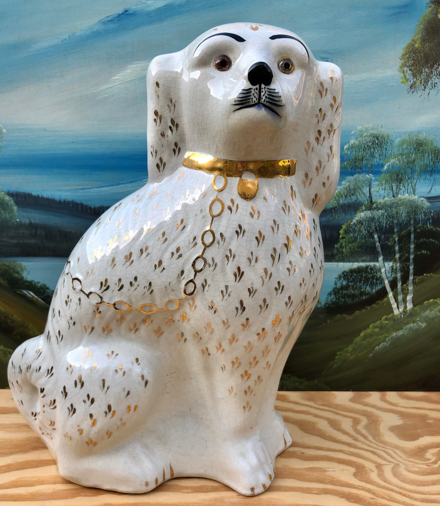 Large Antique Staffordshire Spaniel Dog