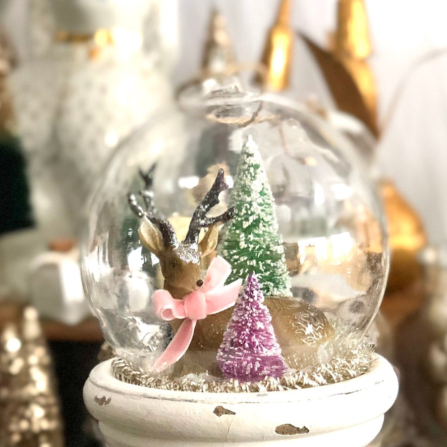 Glass Globe Ornament, Relaxing Deer