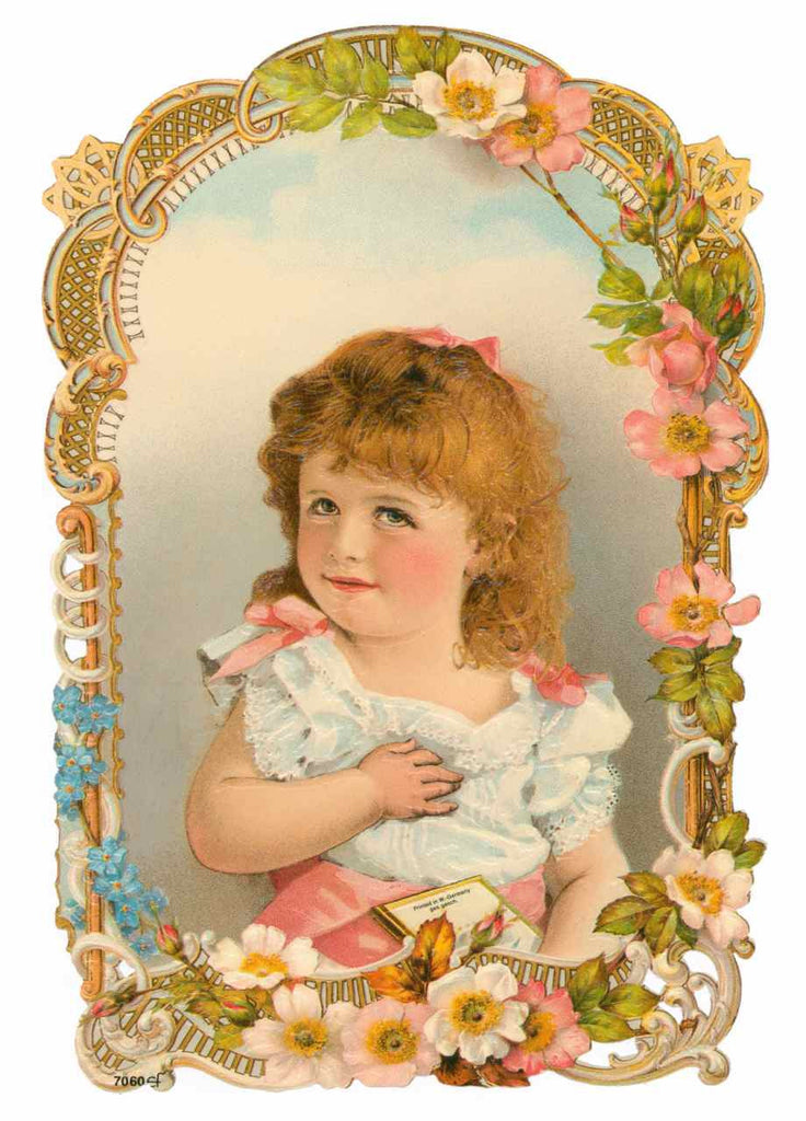 Framed Young Girl with Wild Roses