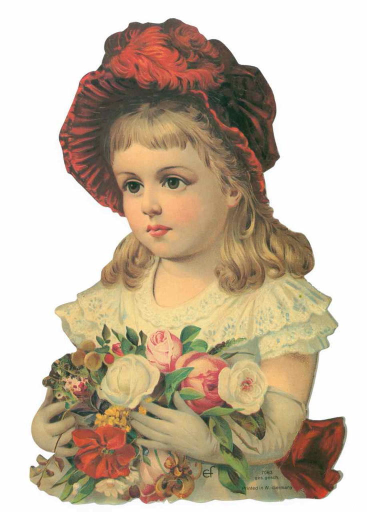 Scrapbook Pictures, Girl with Red Hat and Flowers