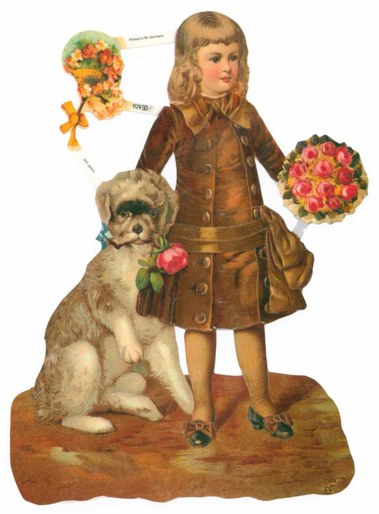 Young Girl in a Coat with a Dog Scrapbook Picture